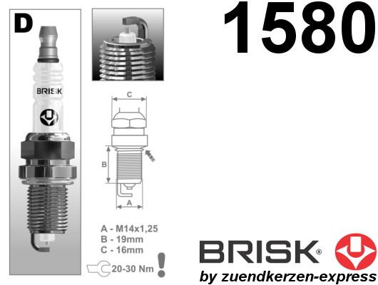 BRISK Silver DOR15YS-1 1580 Zündkerzen Benzin LPG GPL CNG Autogas, 4 Stück