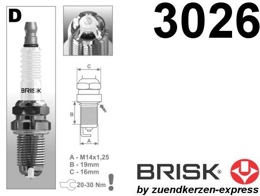 BRISK Premium Racing DOR15LGS 3026 Zündkerzen, 6 Stück