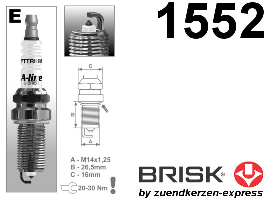 BRISK A-line 40 Yttrium ER15YPY-1 1552 Spark plugs, 6 pieces