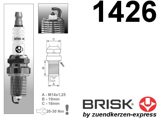 BRISK Platin DR14YP-1 1426 Zündkerzen, 4 Stück