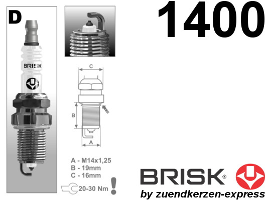 BRISK Platin DR15YP 1400 Spark plugs, 4 pieces