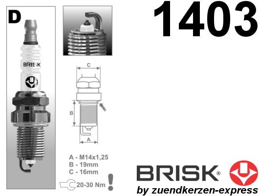 BRISK Platin DR17YP-1 1403 Spark plugs, 4 pieces