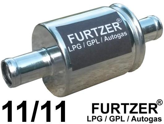 Furtzer® Universal Autogas Filter für die Gasphase, Anschlussdurchmesser 11 mm beidseitig