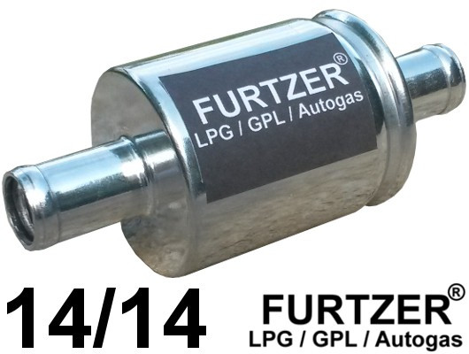 Furtzer® Universal Autogas filter for the gas phase, connection diameter 14 mm on both sides