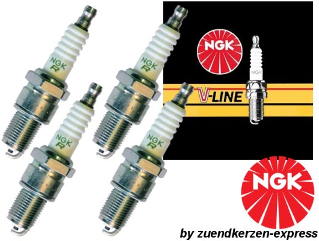 NGK V-LINE 24 BKUR6ET-10 3045 Zündkerzen, 4 Stück