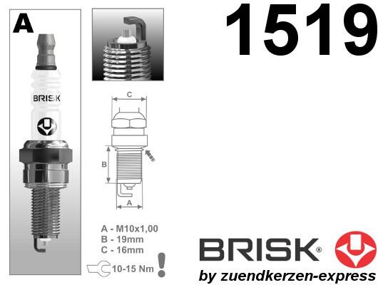 BRISK Silver Racing AR14YS 1519 Zündkerzen Benzin LPG GPL CNG Autogas, 4 Stück