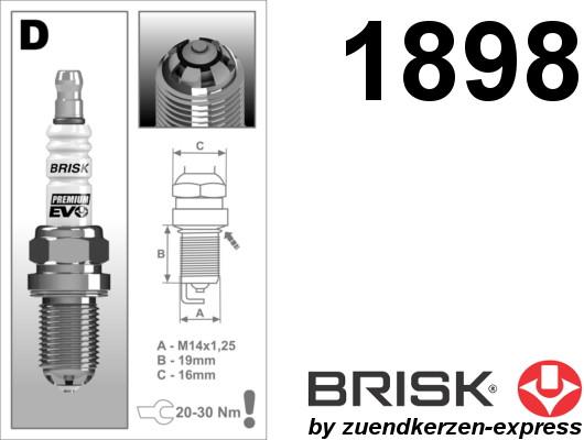 BRISK Premium EVO DR15SXC 1898 spark plugs, 4 pieces
