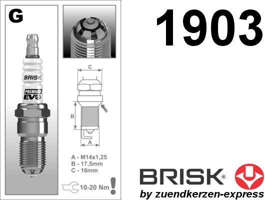 BRISK Premium EVO GR15SXC 1903 spark plugs, 4 pieces