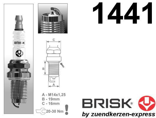 BRISK Iridium Racing DOR14IR 1441 Zündkerzen, 4 Stück