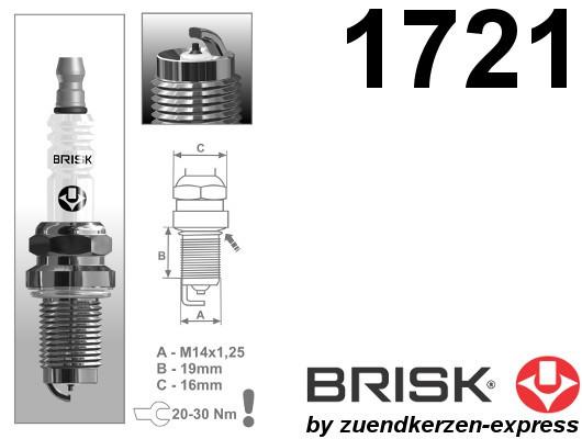 BRISK Iridium Racing DOR12IR 1721 Zündkerzen, 4 Stück