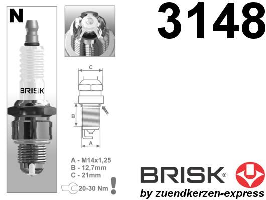 BRISK Premium Racing NOR12LGS 3148 Spark plugs, 4 pieces