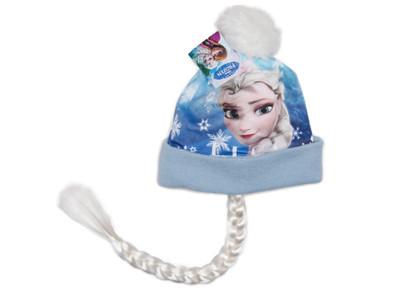 Disney Frozen - Die Eiskönigin Wintermütze mit Elsa Zopf Hellblau