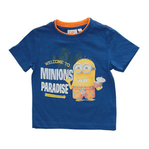 "Minions Kinder T-Shirt ""Welcome to Paradise"" Blau"