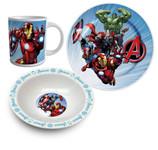 Marvel Avengers Frühstücksset Geschirr 3-tlg. Tasse Teller Schale im Geschenkkarton 001