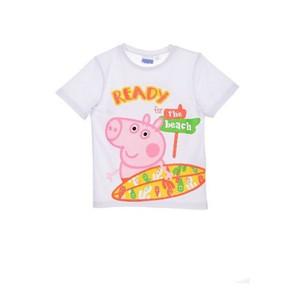"Peppa Wutz Pig Kinder T-Shirt "" Ready for the Beach"" Weiss"