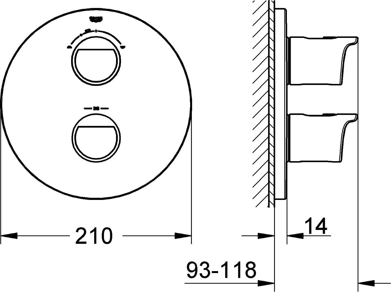 Fertigmontageset 19355001 GROHE Grohtherm 2000 Thermostat mit integrierter 2-Wege-Umstellung f/ür Wanne oder Dusche mit mehr als einer Brause