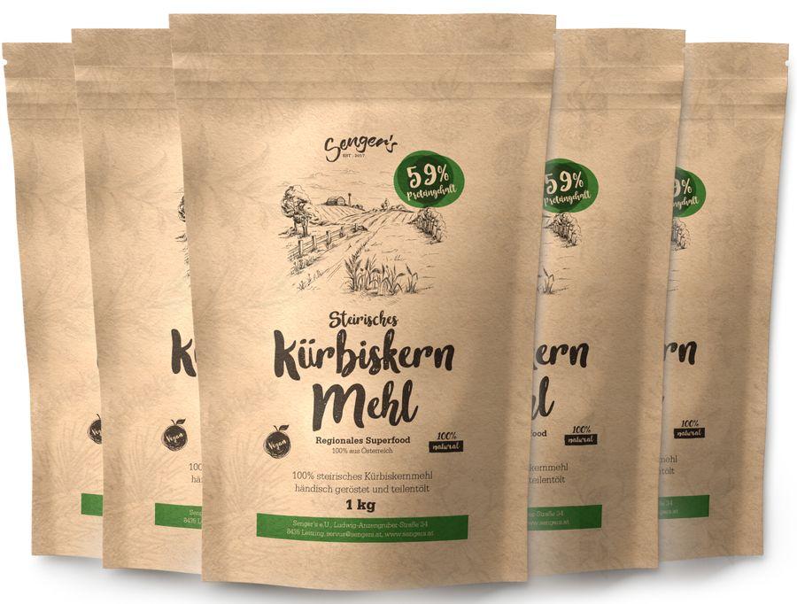 5 kg Kürbiskern-Mehl teilentölt, geröstet und Glutenfrei - 59% Protein Kürbiskern-Pulver Vegan glutenfreies Mehl