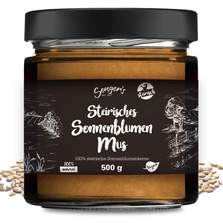 Sengers Sonnenblumenkernmus roh vegan 100% Sonnenblumenkerne aus der Steiermark - geprüfte Qualität ohne Zusatzstoffe - Natur Pur - aus Österreich