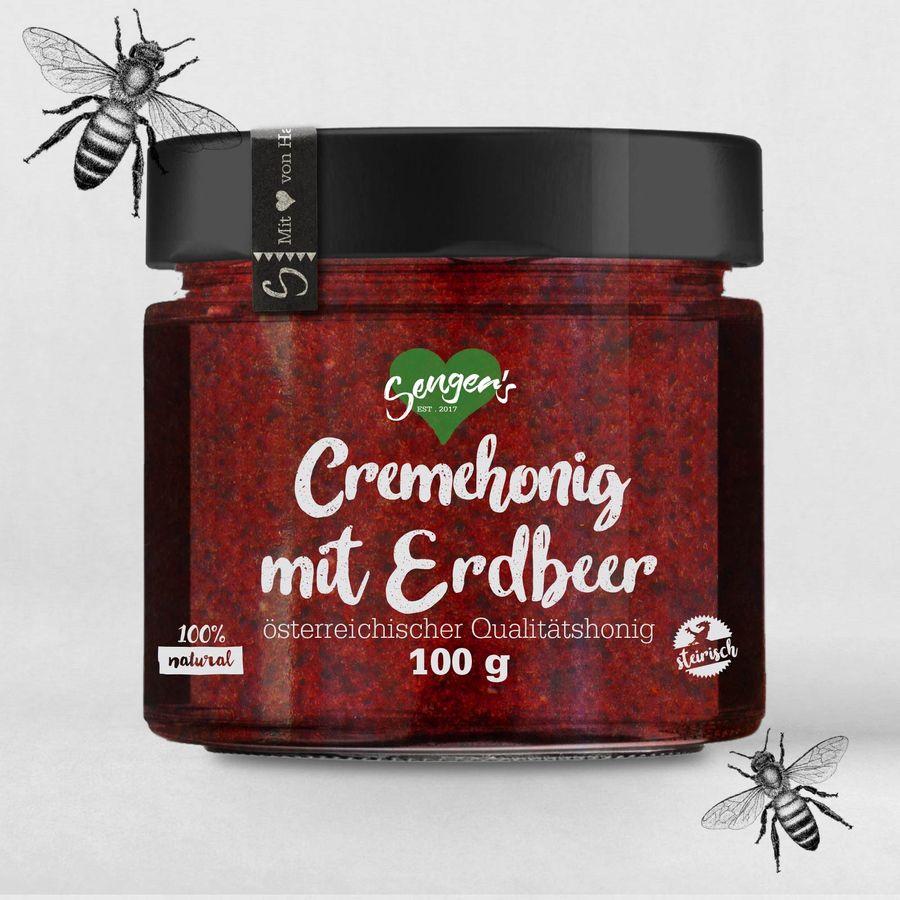 Sengers Cremehonig mit Erdbeer  - 100 g  - natürlicher Honig verfeinert mit frischen Erdbeeren - Natur Pur - aus Österreich