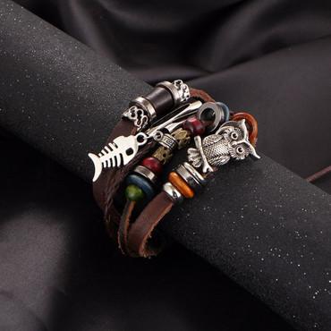 Damen Armband Lederarmband Eule – Bild 3