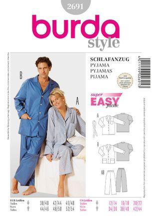 Burda Schnittmuster - 2691 - Unisex - Schlafanzug