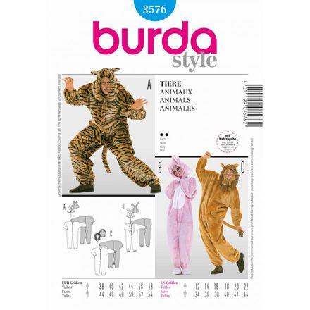 Burda Schnittmuster - 3576 - Unisex Kostüm Hase + Tiger