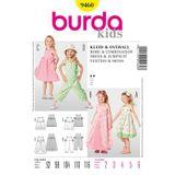 Burda Schnittmuster - 9460 - Kinder Kleid mit Überrock, Overall 001