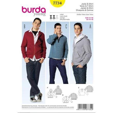 Burda Schnittmuster - 7734 - Herren Jacke, Kapuzenjacke, Sweatshirt