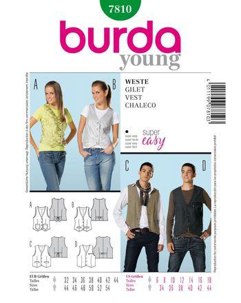 Burda Schnittmuster - 7810 - Unisex Weste Shirt, Top
