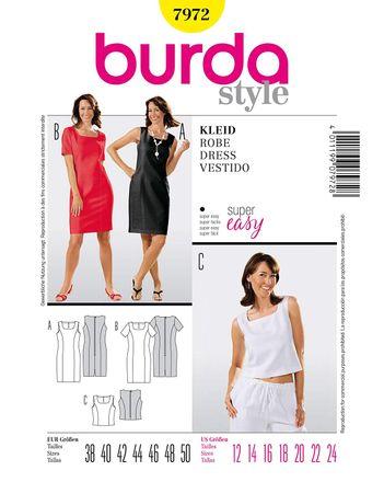 Burda Schnittmuster - 7972 - Kleid und Top
