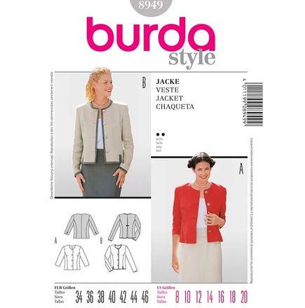 Burda Schnittmuster - 8949 - Damen Kurzjacke im Trachtenstil