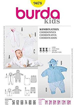Burda Schnittmuster - 9478 - Kinder Baby Kombination