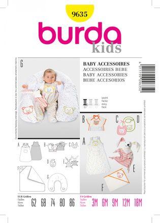 Burda Schnittmuster - 9635 - Kinder, Baby-Still-Kissen, Lätzchen, Schlafsack, Badetuch