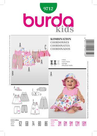 Burda Schnittmuster - 9712 - Kinder, Baby Overall, Kleid, Hose, Jacke, Hut