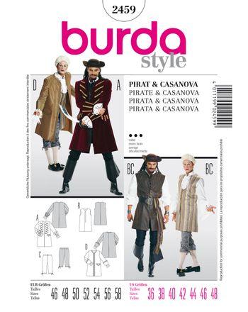 Burda Schnittmuster - 2459 - Männer Kostüm - Casanova, Pirat & Seeräuber