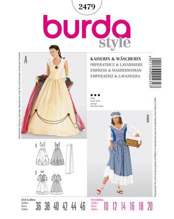 Burda Schnittmuster - 2479 - Damen Kostüm Kaiserin - Königin (& Wäscherin)