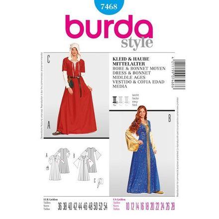 Burda Schnittmuster - 7468 - Damen Kostüm Kleid & Haube - Mittelalter