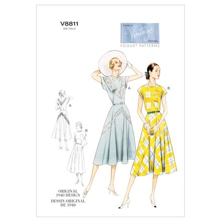 Vogue Schnittmuster V8811 - Damen - Retrokleid