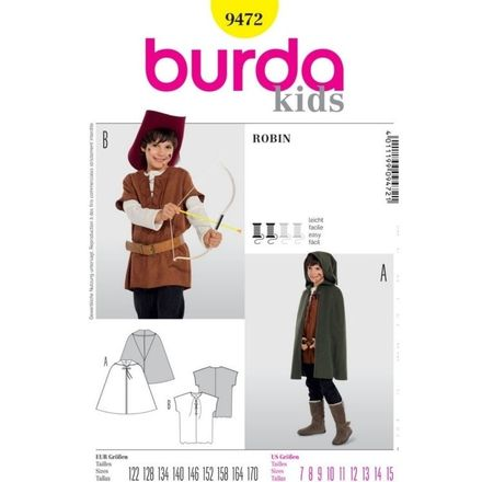 Burda Schnittmuster - 9472 - Kinder Kostüm Robin, Cape, Wams