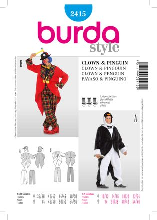 Burda Schnittmuster - 2415 - Karnevals-Kostüm - Clown - Pinguin