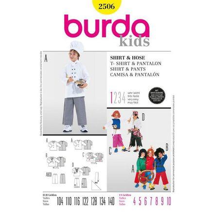 Burda Schnittmuster - 2506 - Kinder Kostüm Pirat, Max & Moritz, Struwwelpeter