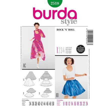 Burda Schnittmuster - 2518 - Kostüm - Petticoat 50er & Glockenrock