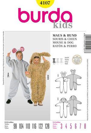 Burda Schnittmuster - 4107 - Kinder Kostüm Maus, Hund
