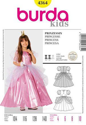 Burda Schnittmuster - 4364 - Kinder Kostüm Prinzessin