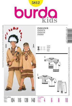 Burda Schnittmuster - 5812 - Kinder Kostüm Indianer, Indianerin