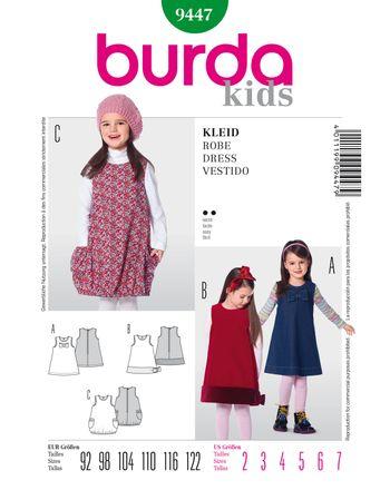 Burda Schnittmuster - 9447 - Kinder Trägerkleid mit großen Schleifen