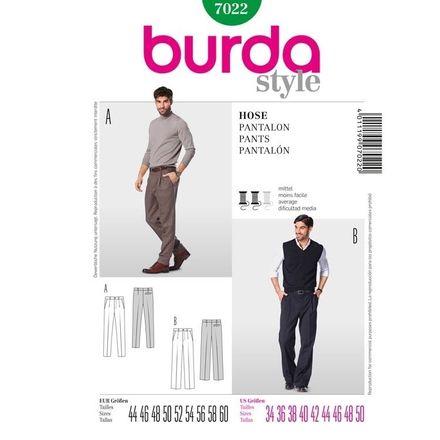 Burda Schnittmuster - 7022 - Herrenhose – eine Bundfalte