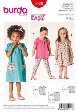 Burda Schnittmuster - 9438 - Kinder Kleid, Shirt mit Puffärmeln