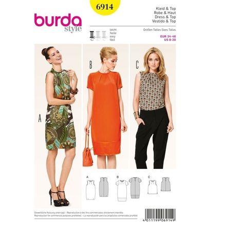 Burda Schnittmuster - 6914 - Kleid – Top – Fältchen am Ausschnitt