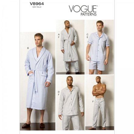 Vogue Schnittmuster V8964 - Herren Pyjama & Morgenmantel